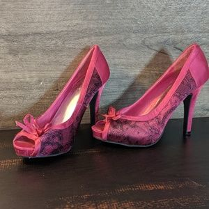 Hot Pink Lace Heels